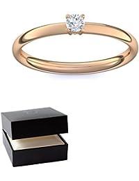 Rosegold Ring Verlobungsringe Rosegold (Silber 925 hochwertig vergoldet) von AMOONIC mit SWAROVSKI Zirkonia Stein +LUXUSETUI! Rosegoldring Ring Zirkonia wie Diamant Ringe Verlobung AM161VGRSZIFA