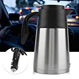 Car Electric Pot Kettle, 12V/24V 1300ml Stainless Steel Car Truck Travel Pot Heated Water Cup(12V)