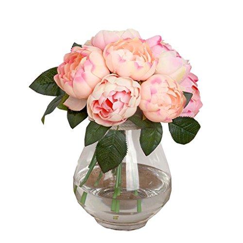 Coloré(TM)1 Bouquet De Pivoine Artificielle Feuilles 6 Chefs Fleur En Soie Maison Mariage Decor (Beige)