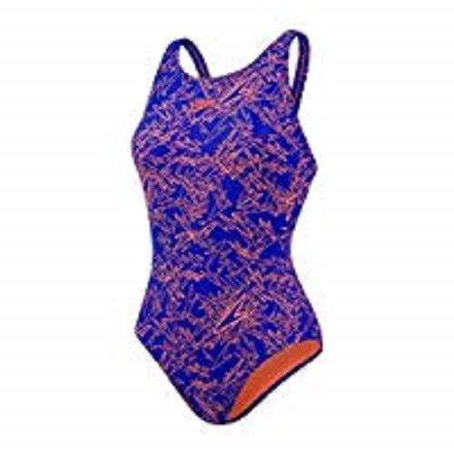 Speedo Damen Boom Allover Muscleback Badeanzug, blau (Ultrasonic/Fluo Orange),46