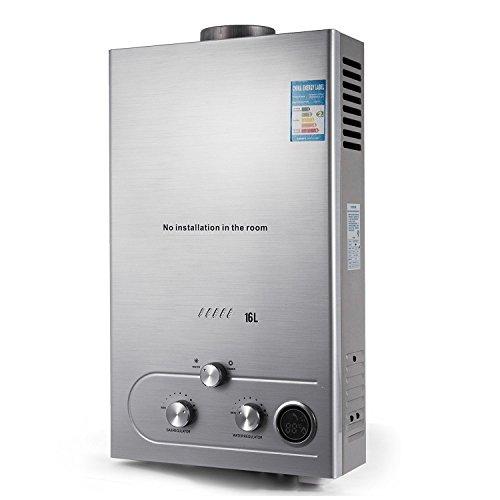 BananaB 16L Erdgas Warmwasserbereiter LNG 32KW 4.3GPM Natural Gas Water Heater Edelstahl Durchlauferhitzer mit Duschkopf