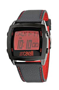 Just Cavalli - R7251225085 - Screen - Montre Homme - Quartz Digital - Cadran Rouge - Bracelet Cuir Noir