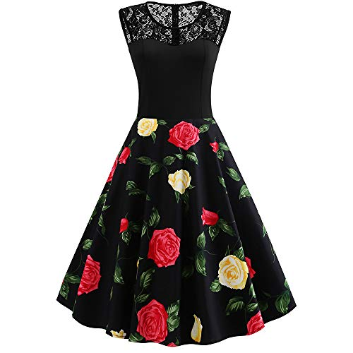 25fa49b4a6ae Women s Retro Floral Lace Dress Slim Fit Retro Printed Dresses Vintage Cocktail  Party Evening Swing Bridesmaid