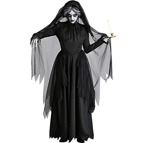 GWNJSSX Halloween Kostüm,Deadly Ghostly Zombie Bride Womens Adults Scary Hexe Größe Large,Black-M (Lady Sensenmann Scary Kostüm)