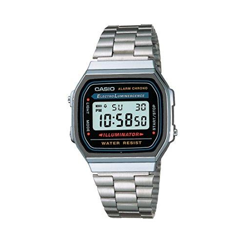 casio vintage a168wa-1wdf - orologio da polso digitale, argento