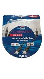 Ednet 84256 USB A USB A Noir câble USB - câbles USB (USB A, USB A, Male connector/Male connector, Noir, 480 Mbit/s, Windows 98SE, ME, 2000, XP)