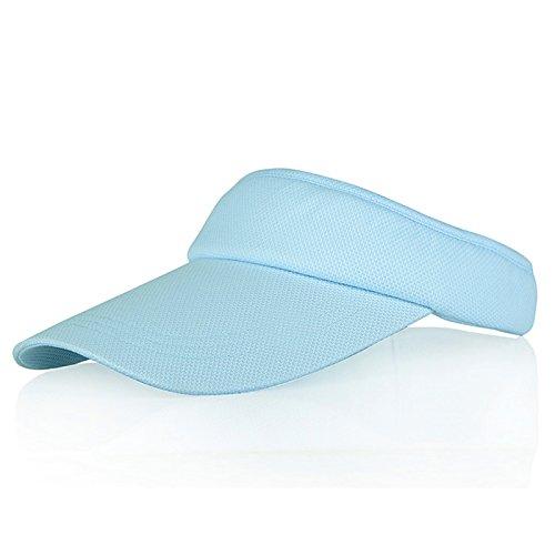Blau Sonnenblenden für Frauen und Mädchen, Lange Brim Dickere Schweißband Einstellbare Velcro-Hut für Golf Radfahren Angeln Tennis Jogging und andere Sportarten
