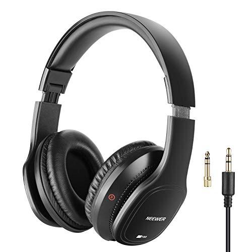 Neewer HD100 Estudio Monitor Auriculares Plegables Dinámicos con 40mm Lohailer Driver, Cable Desmontable 3 Metros, Adaptador Enchufe 3,5-6,3mm para PC, Smartphones, MP3 (Negro)