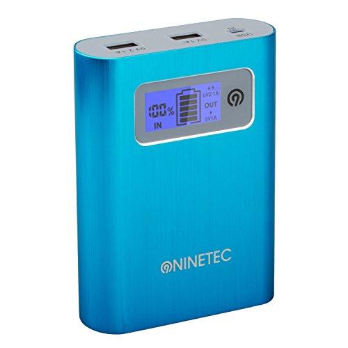 NINETEC PowerDrive 2in1 32GB USB Flash Speicher + 13.400mAh Power Bank Akku Ladegerät in Blau