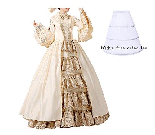 Nuoqi Damen Satin Gothic Viktorianisches Kleid Renaissance Maxi Kostüm
