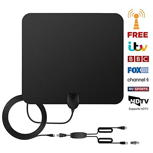 TV Antenne, Zimmerantenne Amplified DVB-T2 Antenne 60 Meilen Reichweite USB-verstärkte HDTV Antenne mit Abnehmbarem Signalverstärker