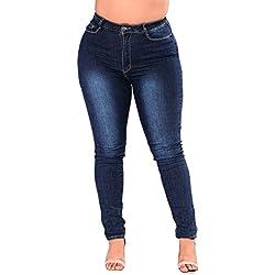 Sunenjoy Jeans Femme Grande Taille Denim Pantalon Skinny Mode Crayon Pantalon Étendue Taille Haute Slim XL-6XL (4XL, Bleu)
