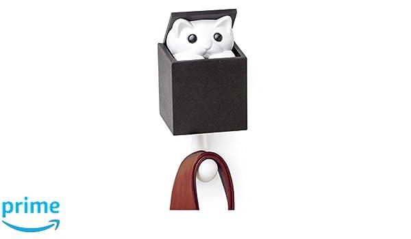 Qualy kitt-a-boo Peeping Cat Coathook gancio da parete gancio nero marrone Black