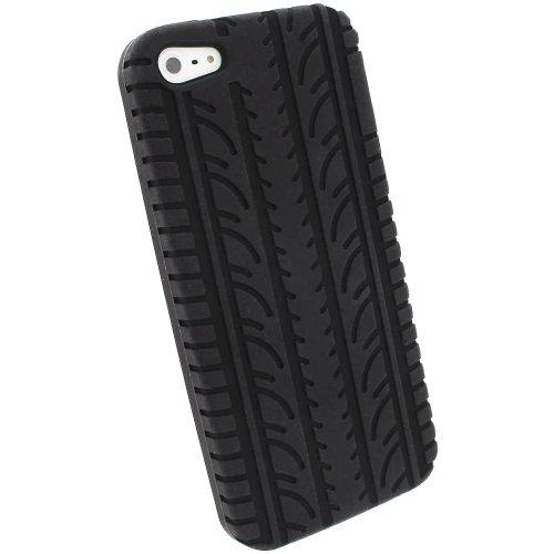 igadgitz Schwarz Silikon Skin Tasche Hülle Etui Case Cover mit Reifenprofil Reifen Profil für Apple iPhone SE, 5S & 5 + Displayschutzfolie (nicht geeignet für iPhone 5C)