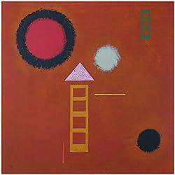 Bilderwelten Glasbild - Kunstdruck Wassily Kandinsky - Beruhigt - Expressionismus Quadrat 1:1, Größe HxB: 50cm x 50cm