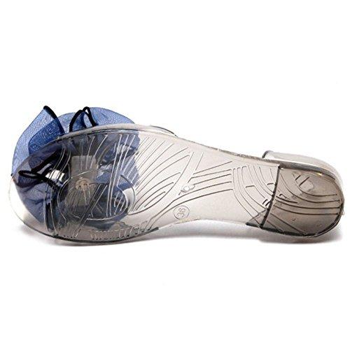 COOLCEPT Damen Mode Slip On Sandalen Flach Schuhe Mit Bogen Blau nrZxF