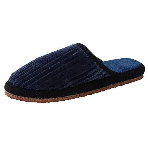 SoonerQuicker Herren Hausschuhe aus Baumwolle Winter Paar Hausschuhe Indoor Flat Warm Floor Slipper blau 35.5