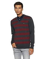 Arrow Sports Mens Sweater (Asusw4208_Charcoal Melange_Medium)