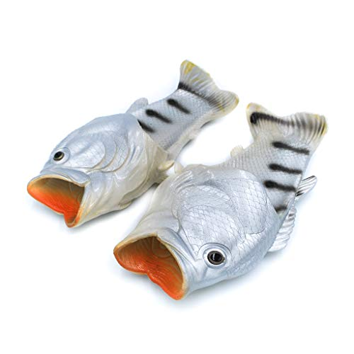 Coddies Fisch Flops   Strandschuhe, Flip Flops, Freizeitschuhe, Hausschuhe, Duschschuhe und Sandalen für Männer, Frauen und Kinder, Silber, 38/39 EU