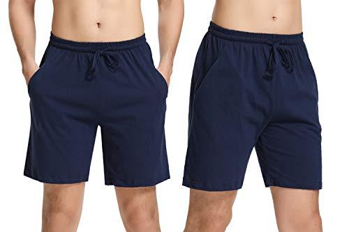 Hawiton Herren Schlafanzughose Pyjamahose Baumwolle Kurz Shorty Nachtwäsche Sleep Hose Pants Blau 2er Pack XL