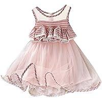 Vestidos niña Primavera | Vestido de Princesa de Gasa a Cuadros sin Mangas con Volantes para bebés y niños pequeños 2-7 años