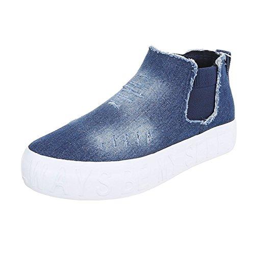 High-Top Sneaker Damenschuhe High-Top Sneakers Ital-Design Freizeitschuhe Blau AB-3