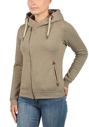 DESIRES Vicky Zip-Hood Damen Sweatjacke Kapuzenjacke Hoodie Mit Kapuze Fleece-Innenseite Und Cross-Over-Kragen, Größe:XS, Farbe:Sand Melange (8409) - 2