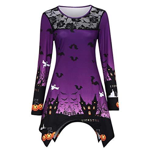 Dienstmädchen Kostüm Tudor - Langarmshirts Tunika Damen Spitze Rundhals Langarm Tuniken Unregelmäßige Blusen Halloween Kostüm Oberteile T-Shirts Asymmetrisch Lomelomme