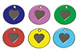 KNIFE-POINT ENGRAVED CAT & KITTEN ID TAG, ID DISCS - HEART DESIGN (RED)