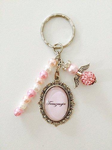 Handgemachter Cabochon Schlüsselanhänger Trauzeugin/Brautjungfer für Ihre Hochzeit,mit Schutzengel und Perlen (Trauzeugin rosa)