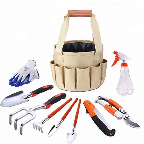 Ensemble d'outils de jardinage de 9 pièces, outils de jardinage avec gants de jardin et sac de jardinage, ensemble d'outils de cadeaux jardiniers avec sécateurs de truelle de jardinage et plus