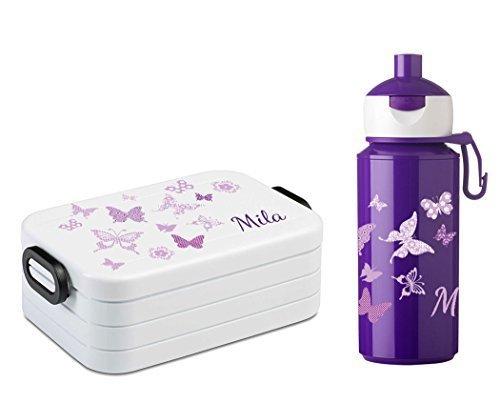 Mein Zwergenland Brotdose Mepal Lunchbox Maxi Take A Break Midi und Campus Pop-up Trinkflasche mit Namen Lila, Schmetterlinge