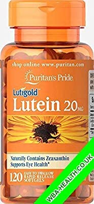 Puritan's Pride Lutein 20 Mg With Zeaxanthin 120 Softgel Fast Dispatch (904) by PURITAN'S PRIDE