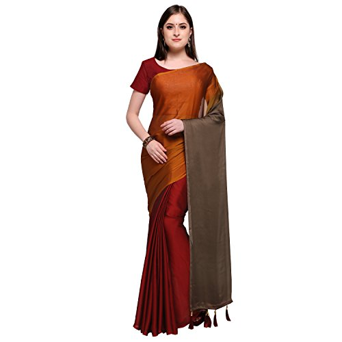 Womanista Synthetic Saree with Blouse Piece (FSP525_Red & Orange_One Size)