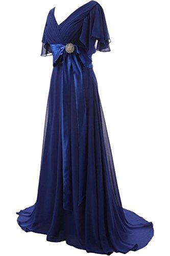ivyd ressing préférée courte col en V manches longue femme Nœud avec pierres Prom robe Lave-vaisselle robe robe du soir Tintenblau