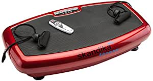 skandika Vibration Plate Home 600, 1092, Profi Vibrationsplatte, inkl. infrarot Fernbedienung, flüsterleiser Motor mit 20 Geschwindigkeitslevel große Trainingsfläche mit Anti-Rutschbeschichtung, rot