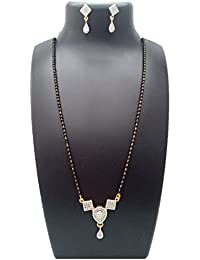 ShreeVari Fashion Gold Plated Alloy With Pearls Black & White Mangalsutra Necklace With Chain And Earrings For...