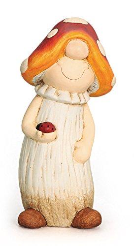 Deko Figur Pilz Fliegenpilz Pilzmännchen mit Schlafmütze aus Polystein rot orange beige, Höhe 29 cm, witzige Figur als Deko für drinnen und draussen