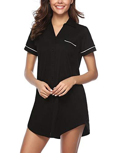 Hawiton Damen-Nachthemd mit V-Ausschnitt, kurzärmelig, Knopfleiste, Pyjama, Kleid, Hemden - - Medium - Kleid Hemd Ärmellänge