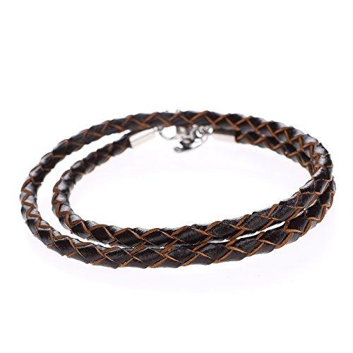 Autiga Herren Damen Leder-Armband Leder-Halskette geflochten dunkelbraun Edelstahl 3mm 4mm - viele Längen 17-80 cm dunkelbraun 4 mm 45 cm