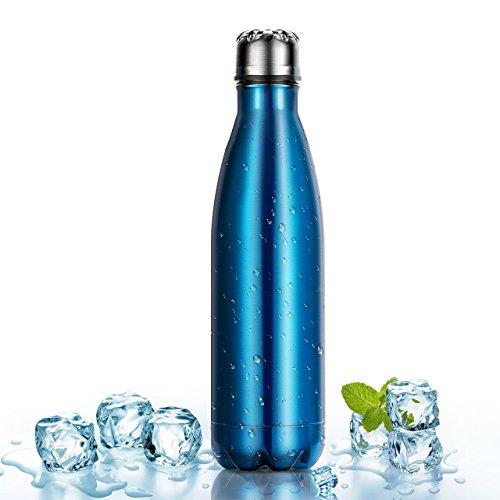500ml Botella Térmica Fabricada en Acero Inoxidable, OMorc Deportiva Botella Mantiene la Bebida Fría/Caliente Libre de BPA, a Hacer Deporte, al Campo, al Trabajo, a la Playa, Viene con un Cepillo de Limpieza(Azul)