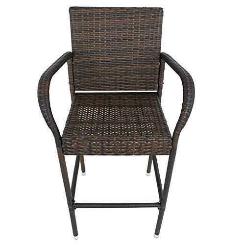 LY7 Wicker Barhocker Stühle Draussen Hinterhof Rattan Stuhl Eisenrahmen, Armlehne und Fußstütze (Küche Stühle Wicker)