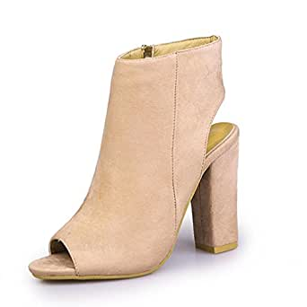 d30411fbedfe Women s Peep Toe Heeled Ankle Boots OverDose Open Toe Side-Zip Block High  Heel Shoes