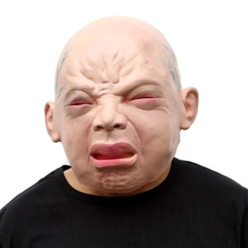 Fanfan Neuheit Latex Creepy Horror Kopf Cry Boy Masquerade Maske Halloween Cosplay Make up Party Kostüm