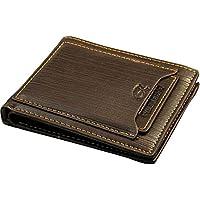 محفظة رجالية جلدية مع حافظة مستقلة للبطاقات - لون بني غامق