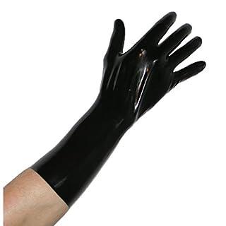 Rubberfashion kurze Latex Handschuhe, Latexhandschuhe bis übers Handgelenk nicht chloriert für Frauen und Herren Menge: 1 Paar schwarz M