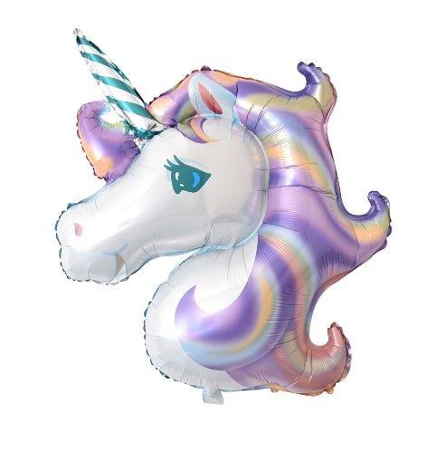 Globo Unicornio gigante GaldaParty para fiestas o cumpleaños de 117 x 88 cm. preparado para aire o helio. (Morado)