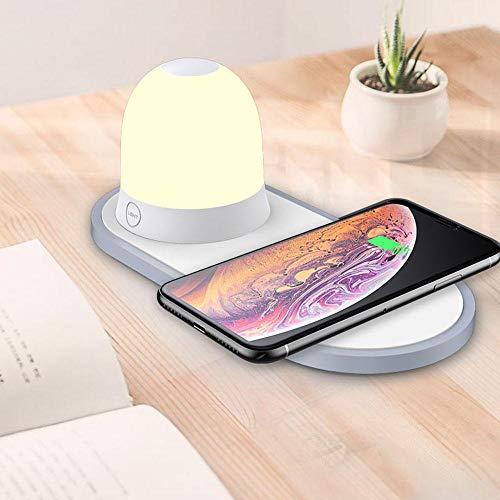 Qi Fast Wireless Charger,Womdee Nachttischlampe Ladefunktion,LED Dimmbare Nachttischlampe, RGB Stimmungslicht,5W/7.5W/10W Qi Ladestation für Samsung S10, S10, S9, S8,Kabelloses Ladegerät für iPhone