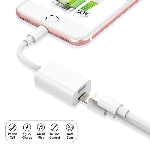 Dual Lightning Adapter für iPhone 7 7 Plus, Dexnor 2 in 1 Apple iPhone 7 7 Plus Lightning Adapter Splitter für Kopfhörer Ladeadapter (Kompatibel mit iOS 10.3) Unterstützungsdaten Synchronisierung Aufladung Audio Telefonanruf - Weiß