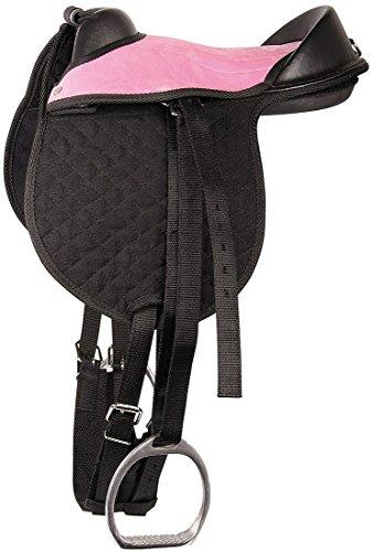 Reitkissen Bambino schwarz/rosa | Pony/Shetty Pad anpassbar Sattel für Kinder komplett mit Riemen, Steigbügel und Sattelgurt | auch für Holzpferde geeignet 10″